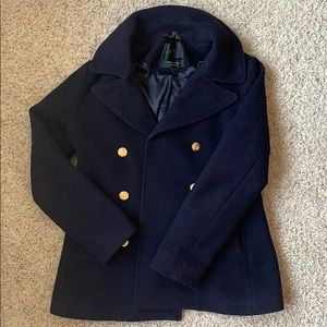 Navy J. Crew Double-Breasted Peacoat